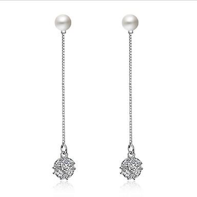 Cercei Picătură Iubire Inimă Prietenie La modă Vintage Euramerican Franjuri Perle Plastic Zirconiu Argintiu Bijuterii PentruNuntă