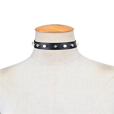 Damskie Pojedynczy Strand Spersonalizowane Imitacja pereł Modny euroamerykańskiej Naszyjniki choker Biżuteria Imitacja pereł Skórzany