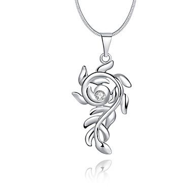 Damskie Kwiat Kryształ Srebro standardowe / Kryształ / Imitacja diamentu Naszyjniki z wisiorkami - Luksusowy / Unikalny / Logo Silver