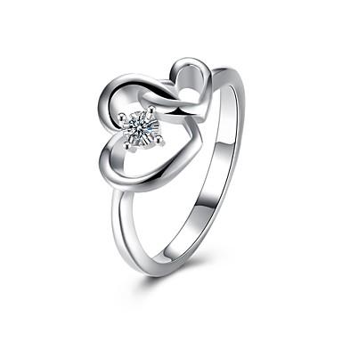 Γυναικεία Δαχτυλίδι Cubic Zirconia Ασημί Ζιρκονίτης Χαλκός Επάργυρο Geometric Shape Εξατομικευόμενο Κυκλικό Μοναδικό Βίντατζ Τεχνητό