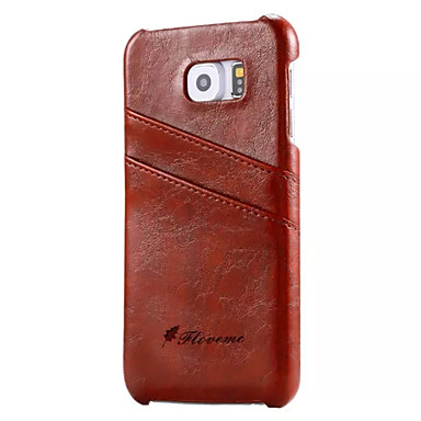 Недорогие Чехлы и кейсы для Galaxy S6-Кейс для Назначение SSamsung Galaxy S7 / S6 edge plus / S6 edge Кошелек / Бумажник для карт Кейс на заднюю панель Однотонный Твердый Настоящая кожа