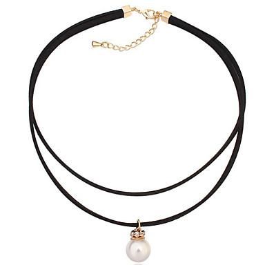 Kadın's Uçlu Kolyeler Kristal Round Shape lüks mücevher Beyaz Mücevher Için Doğumgünü 1pc