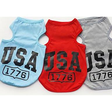 Pies T-shirt Yelek Ubrania dla psów Codzienne Litera i numer Gray Czerwony Niebieski Kostium Dla zwierząt domowych