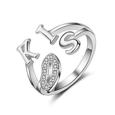 Pentru femei Plastic Inel - Alphabet Shape Inimă Argintiu Inel Pentru Nuntă Petrecere Casual