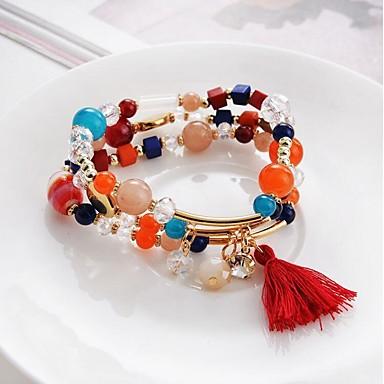 Bransoletki Wrap Kryształ Circle Shape Modny Damskie Biżuteria 1szt Beige Rainbow Czerwony Niebieski