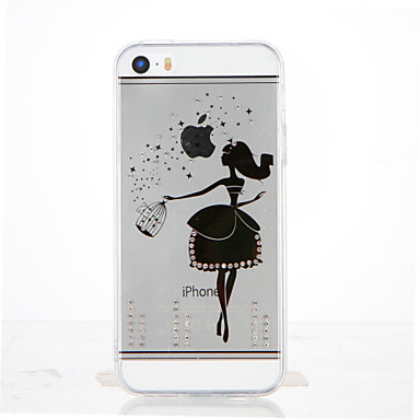 Için Taşlı Şeffaf Kendin-Yap Pouzdro Arka Kılıf Pouzdro Seksi Kadın Yumuşak TPU için Apple iPhone SE/5s iPhone 5
