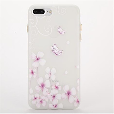 Pouzdro Uyumluluk Apple Karanlıkta Parlayan Buzlu Süslü Arka Kılıf Kelebek Yumuşak TPU için iPhone 7 Plus iPhone 7 iPhone 6s Plus iPhone