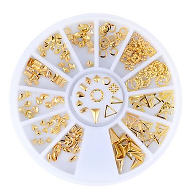 1set nail accessories metal rivets jewelry box mini grain triangle circle