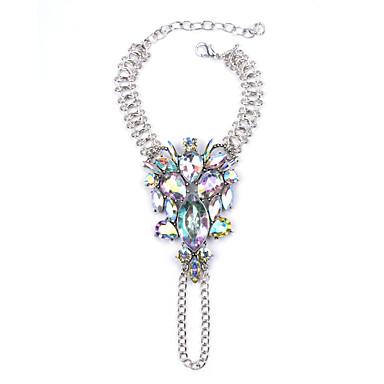 Kadın's Zincir & Halka Bileklikler Mücevher Bohemia Stili Moda Değerli Taş alaşım Beyaz Gümüş Gökküşağı Mücevher Için Parti 1pc