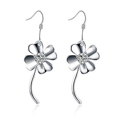 Damskie Dla dziewczynek Kolczyki zwisają Kryształ Modny Posrebrzany Flower Shape Biżuteria Na Ślub Impreza Codzienny Casual