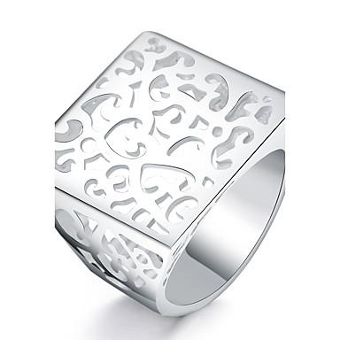 للمرأة تصفيح بطلاء الفضة خاتم - مربع euramerican في من أجل يوميا