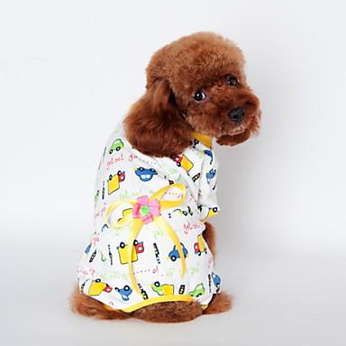 Gato Cachorro Camiseta Pijamas Roupas para Cães Fofo Casual Desenho Animado Amarelo Azul Rosa claro Ocasiões Especiais Para animais de