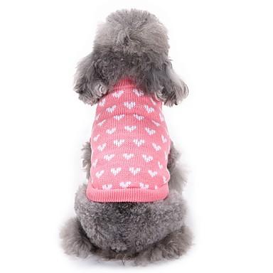 Γάτες Σκυλιά Πουλόβερ Ρούχα για σκύλους Χειμώνας Καρδιές Μοντέρνα Καθημερινά Ροζ