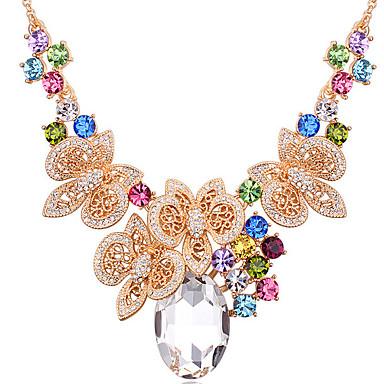 Kadın's Uçlu Kolyeler Kristal Oval Shape Dairesel Tasarım Mücevher Uyumluluk Günlük
