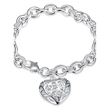 Kadın's Genç Kız Zincir & Halka Bileklikler Vintage Arkadaşlık Moda Gümüş Kaplama Kalp Mücevher Yılbaşı Hediyeleri Düğün Parti Özel Anlar
