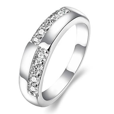Kadın's Yüzük Gümüş Zirkon Bakır Gümüş Kaplama alaşım Yuvarlak Kişiselleştirilmiş Wzór geometryczny Eşsiz Tasarım Vintage Yapay elmas