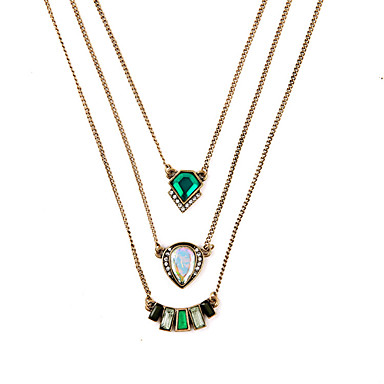 Kadın's katmanlı Kolyeler Kristal Geometric Shape Eşsiz Tasarım Euramerican Mücevher Uyumluluk