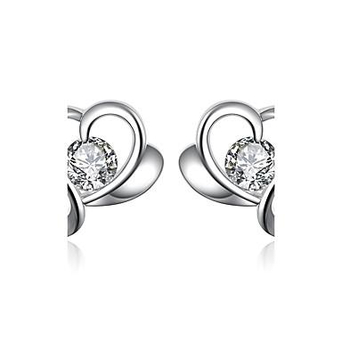 للمرأة فتيات أقراط الزر كريستال قلب تصفيح بطلاء الفضة Heart Shape مجوهرات من أجل زفاف حزب يوميا فضفاض