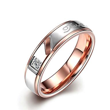 Pentru femei Verighete Cristal La modă stil minimalist de Mireasă Oțel titan Round Shape Bijuterii Pentru Nuntă Petrecere Ocazie specială