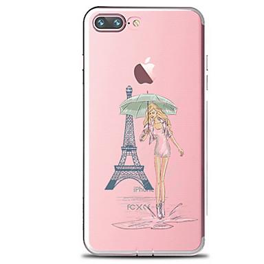 Na Przezroczyste Wzór Kılıf Etui na tył Kılıf Seksowna dziewczyna Wieża Eiffla Miękkie TPU na AppleiPhone 7 Plus iPhone 7 iPhone 6s Plus
