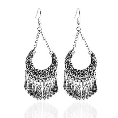 Damla Küpeler Mücevher Dairesel Tasarım Eşsiz Tasarım Eski Tip alaşım Round Shape Gümüş Mücevher Için Parti Günlük 1 çift