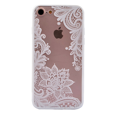 voordelige iPhone 7 hoesjes-hoesje Voor Apple iPhone X / iPhone 8 Plus / iPhone 8 Transparant / Patroon Achterkant Cartoon / Lace Printing / Bloem Hard PC