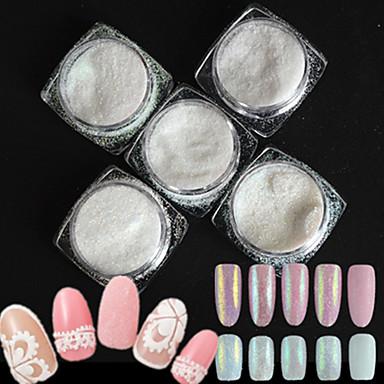 5 pullo / set muoti tyyli Candy värit kynsikoristeet Glitter DIY kauneus sokeripäällystyskoostumus holografinen pigmentti paistaa jauhe