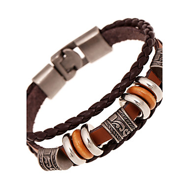 b73f277fc Women's Unisex Leather Bracelet Layered woven Ladies Vintage Multi Layer Leather  Bracelet Jewelry Brown For Anniversary. cheap Bracelets-Women's ...