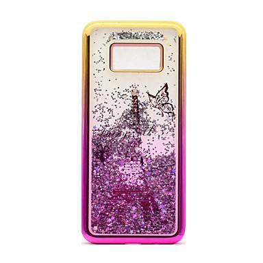 hoesje Voor Samsung Galaxy S8 Plus S8 Beplating Stromende vloeistof Patroon Achterkant Glitterglans Eiffeltoren Zacht TPU voor S8 Plus S8