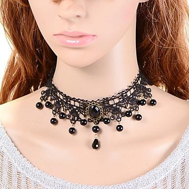 Pentru femei Crown Shape Sapphire sintetic Imitație de Perle Dantelă Perlă neagră Coliere Choker  -  Clasic Turcă Modă Crown Shape Negru