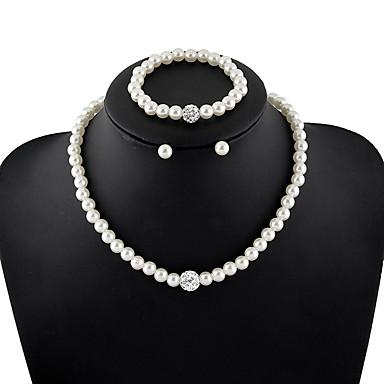 Pentru femei Cristal Imitație de Perle / Ștras Set bijuterii 1 Colier / 1 Pereche de Cercei / 1 Brățară - De Bază Rotund Alb Seturi de