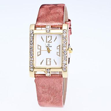 Damen Modeuhr Armbanduhr Quartz Strass Leder Band Bequem Schwarz Weiß Blau Rot Rosa Lila Rose