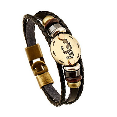Dierenriem Lederen armbanden - Leder Vrienden, Maagd 23/8 - 22/9 Vintage Armbanden Zwart Voor Vuosipäivä / Lahja / mielitietty