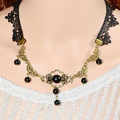 Damen Blume Synthetischer Saphir Künstliche Perle Spitze Schwarze Perle Halsketten - Klassisch Modisch Schwarz Modische Halsketten Für