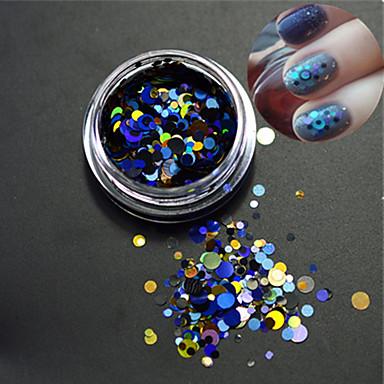 1bottle unghii art mixt dimensiune colorat moda rotund felie laser sclipici paillette felie unghii art decorație p5