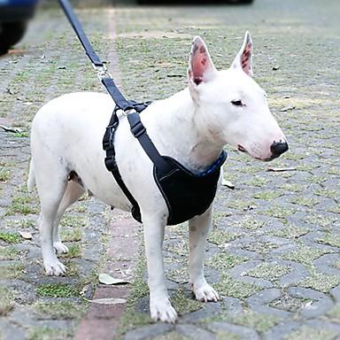 كلب أربطة المقاود ماسك أمان الكلب / ماسك معقد السيارة للكلب قابل للسحبقابل للتعديل متنفس للسيارة ركض سادة قماش نايلون أزرق