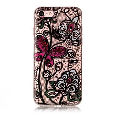 iPhone 7 7 plus 6s 6 plus se 5s 5 5c suojus perhonen kukkien kuvio HD maalattu TPU materiaalia IMD prosessi puhelinkotelo