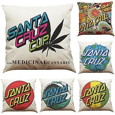 sarja 6 santa cruz kirjain kuvio tyynyn tyynynpäällinen sohva koti sisustus tyyny kansi heittää tyynyliina (18 * 18inch)