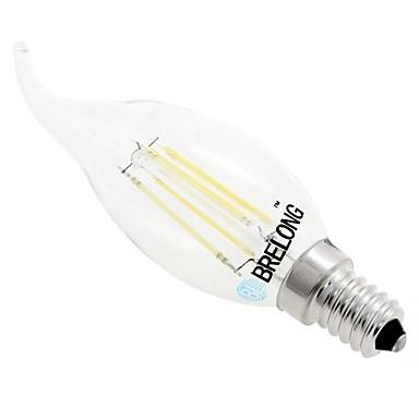 BRELONG® 1PC 4W 350-400lm E14 C35 4 الخرز LED COB تخفيت أبيض دافئ أبيض 220-240V