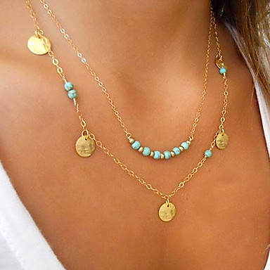 cheap Necklaces-Women's Turquoise Pendant Necklace Double Floating Cheap Ladies Personalized Basic Double-layer Gold Plated Turquoise Alloy Silver Golden Necklace Jewelry For Wedding Party Daily Casual Sports