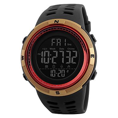 levne Pánské-Pánské Sportovní hodinky Vojenské hodinky Náramkové hodinky japonština Digitální Z umělé kůže Černá 50 m Voděodolné Alarm Kalendář Digitální Módní - Modrá Brown / Gold Zlatá / Červená Dva roky