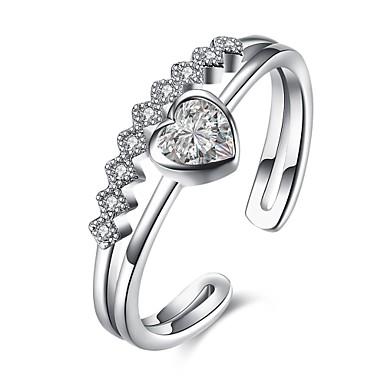 Damen Ring Kubikzirkonia Personalisiert Geometrisch Einzigartiges Design Klassisch Retro Strass Böhmische Grundlegend Herz Freundschaft