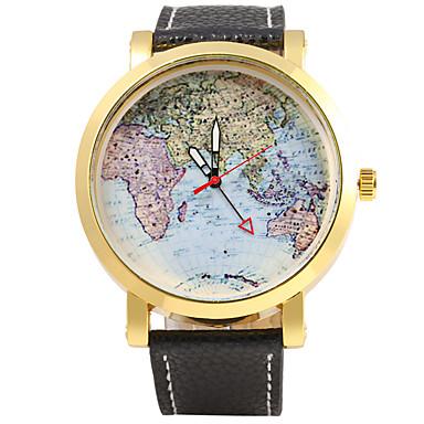 JUBAOLI Miesten Armeijakello Quartz Iso näyttö Nahka Bändi Tyylikäs World Map Pattern Musta  Punainen  Oranssi Keltainen Laivastonsininen