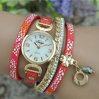 Damen Modeuhr Armband-Uhr Quartz Leder Band Armreif Schwarz Weiß Blau Rot Rose