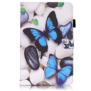 Käyttötarkoitus kotelot kuoret Korttikotelo Lomapkko Tuella Flip Kuvio Kokonaan peittävä Etui Perhonen Kova PU-nahka varten Samsung Tab