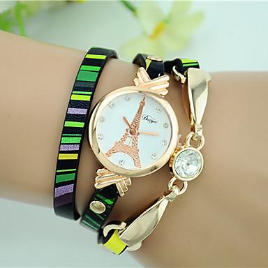 Dames Modieus horloge Armbandhorloge Kwarts Leer Band Eiffeltoren Zwart