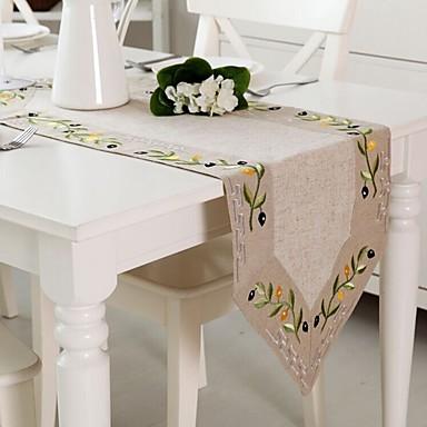 Rectangulaire Embroidered Table Runners , Linen materiaaliTaulukko Dceoration Häät Illallinen sisustus Favor Sisustus Hotel ruokapöytä