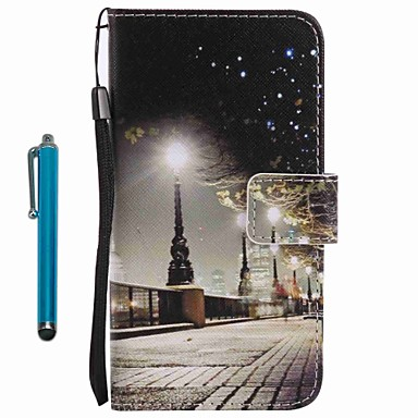 Voor case cover kaarthouder portemonnee met tribune flip patroon full body case met stylus city view hard pu leer voor apple iphone 7 plus
