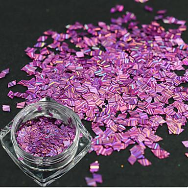 1 pullo romanttiseen uusi muoti violetti muotoilu kynsien art DIY kauneus laserviiva Vinoneliöillä ohut viipale glitter häikäisevän