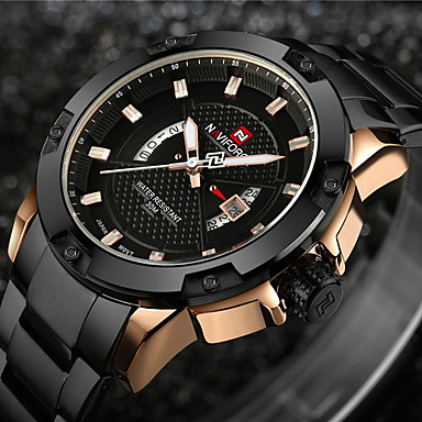 cheap Men's Watches-NAVIFORCE Men's Sport Watch Military Watch Wrist Watch Japanese Quartz Stainless Steel Black / Silver 30 m Water Resistant / Waterproof Calendar / date / day Creative Analog - Digital Charm Luxury